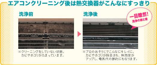 エアコンクリーニング後は、熱交換器がこんなにすっきり